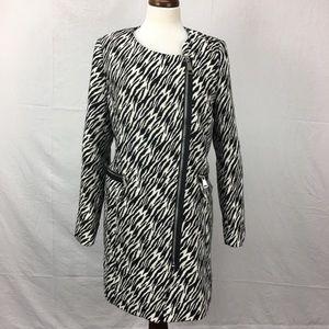PBO Philosophy Blues Zebra Wool Blend Trench Coat